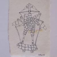 """Wes Wehr,pen on paper,4.25""""x3"""",1973"""